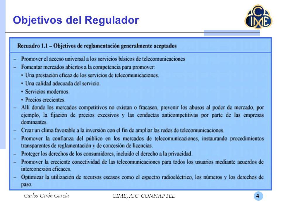 4 Objetivos del Regulador Carlos Girón García CIME, A.C. CONNAPTEL.