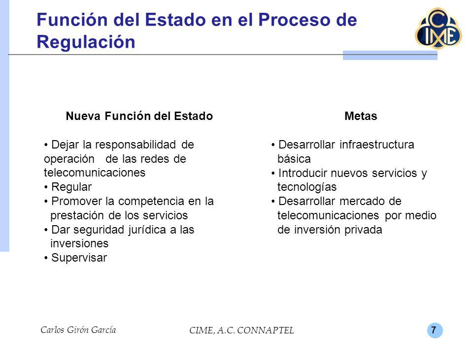 7 Carlos Girón García CIME, A.C. CONNAPTEL Función del Estado en el Proceso de Regulación Nueva Función del Estado Dejar la responsabilidad de operaci