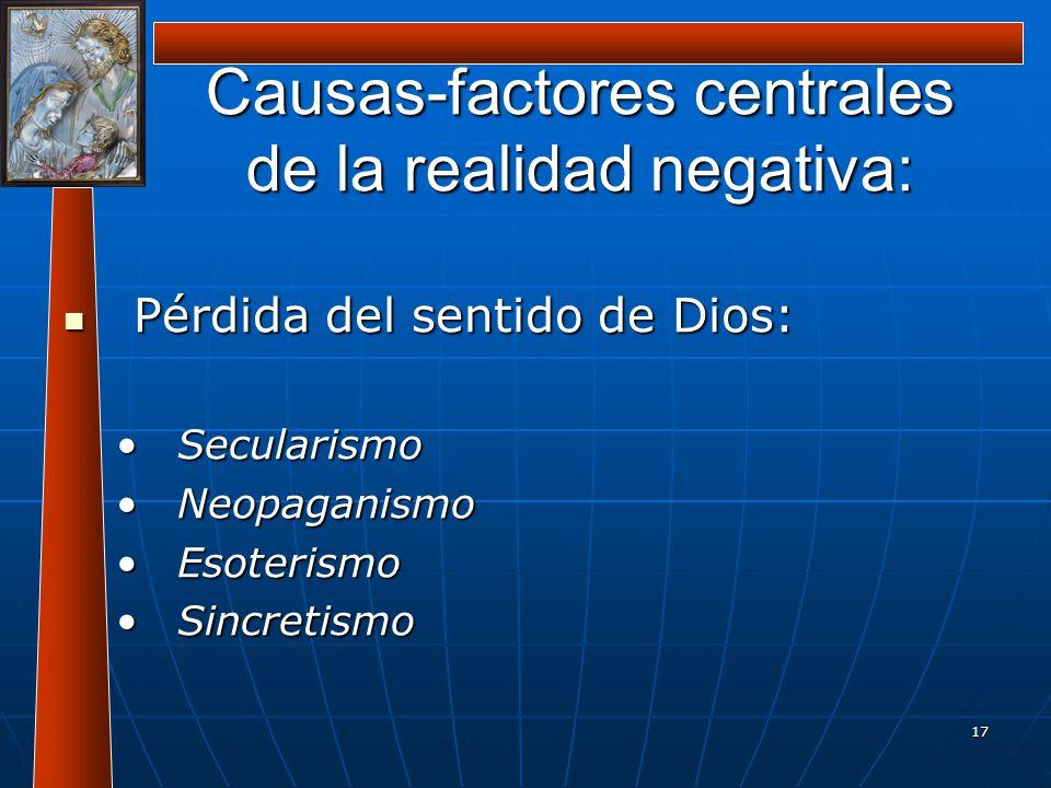 17 Causas-factores centrales de la realidad negativa: Pérdida del sentido de Dios: Pérdida del sentido de Dios: SecularismoSecularismo NeopaganismoNeo