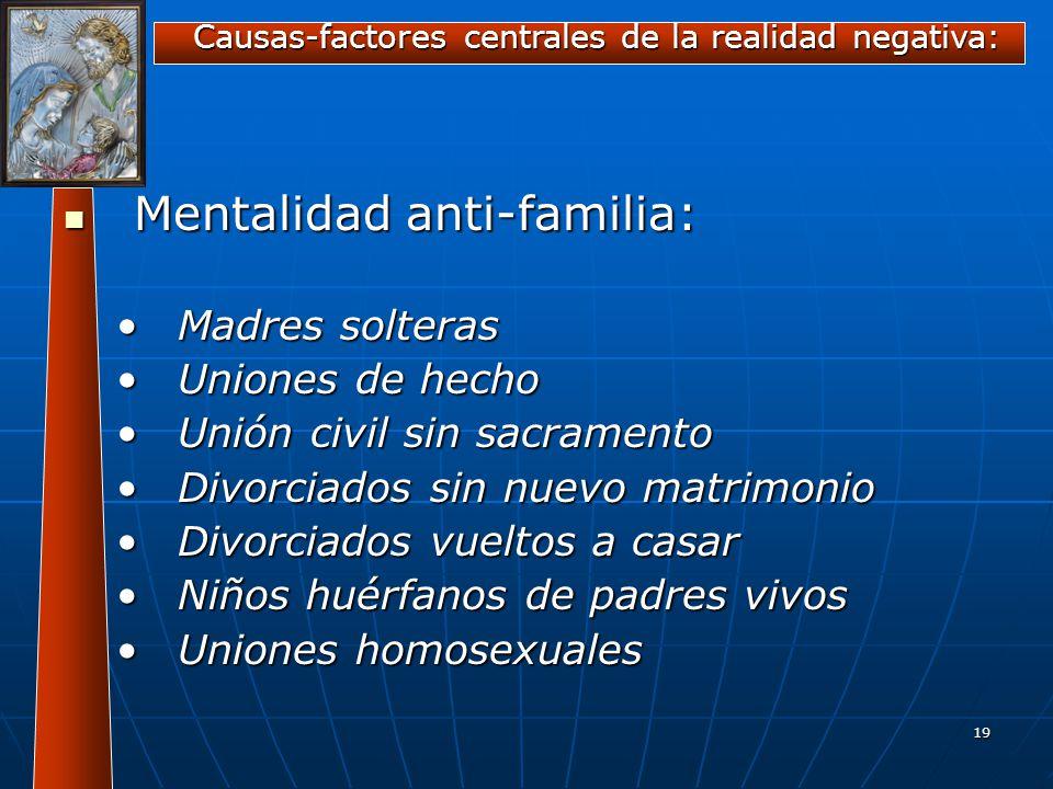 19 Mentalidad anti-familia: Mentalidad anti-familia: Madres solterasMadres solteras Uniones de hechoUniones de hecho Unión civil sin sacramentoUnión c