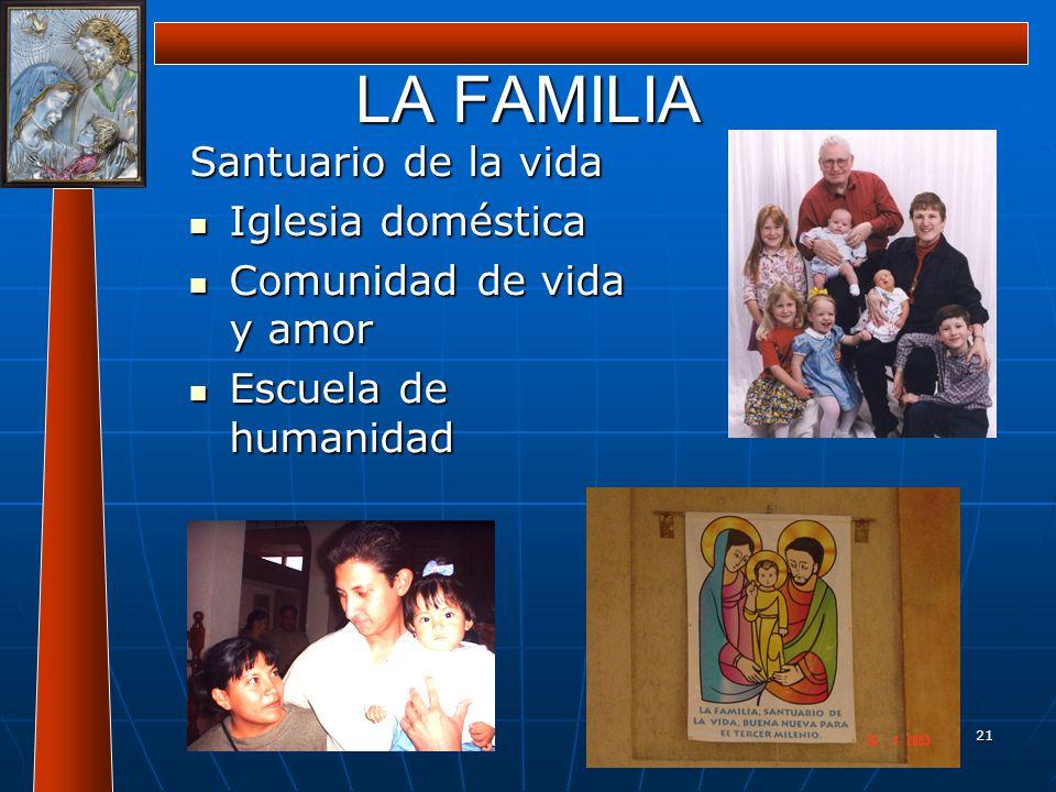 21 LA FAMILIA Santuario de la vida Iglesia doméstica Iglesia doméstica Comunidad de vida y amor Comunidad de vida y amor Escuela de humanidad Escuela