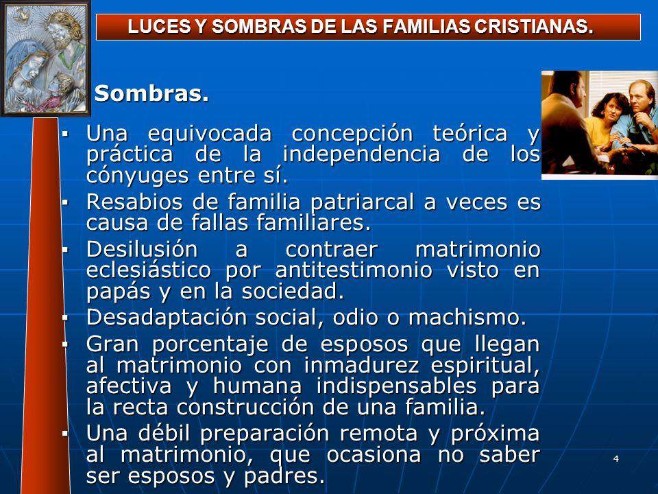4 LUCES Y SOMBRAS DE LAS FAMILIAS CRISTIANAS. Sombras. Una equivocada concepción teórica y práctica de la independencia de los cónyuges entre sí.Una e