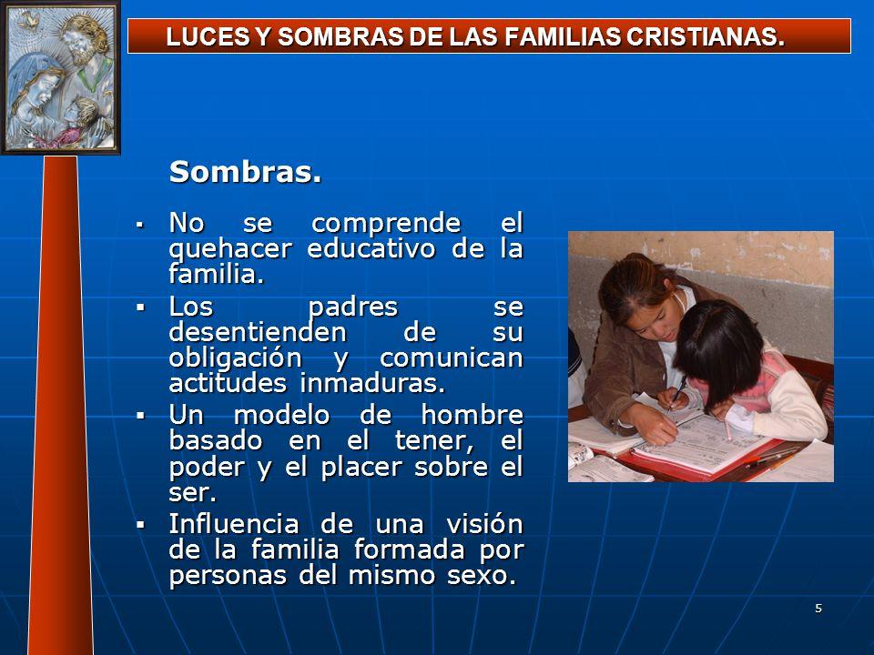 5 LUCES Y SOMBRAS DE LAS FAMILIAS CRISTIANAS. Sombras. No se comprende el quehacer educativo de la familia. No se comprende el quehacer educativo de l