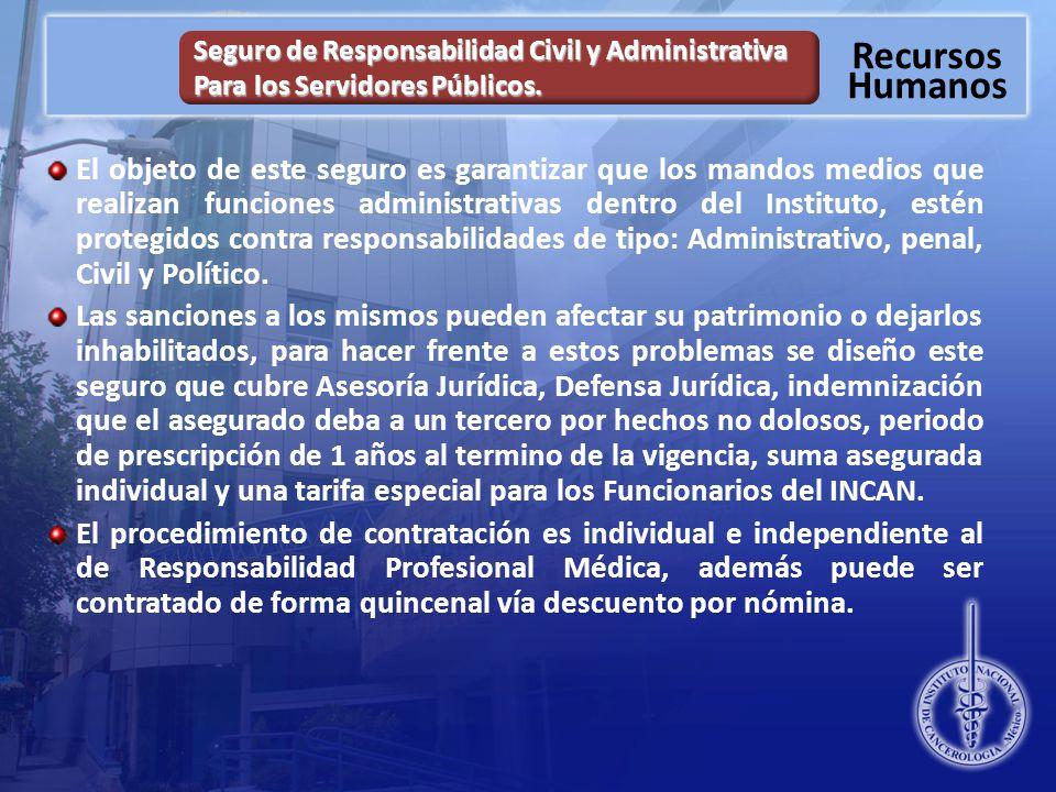 Recursos Humanos Seguro de Responsabilidad Civil y Administrativa Para los Servidores Públicos.