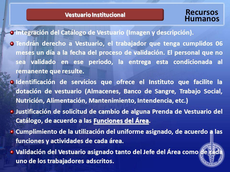 Recursos Humanos ´ Integración del Catálogo de Vestuario (Imagen y descripción).