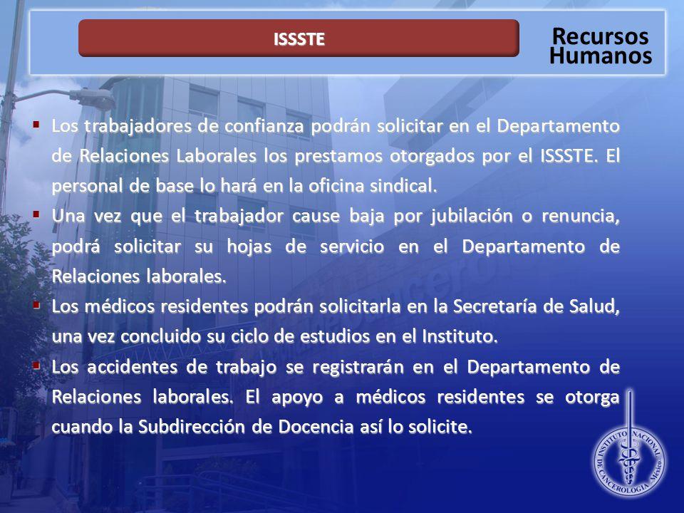 Recursos Humanos ISSSTE Los trabajadores de confianza podrán solicitar en el Departamento de Relaciones Laborales los prestamos otorgados por el ISSSTE.