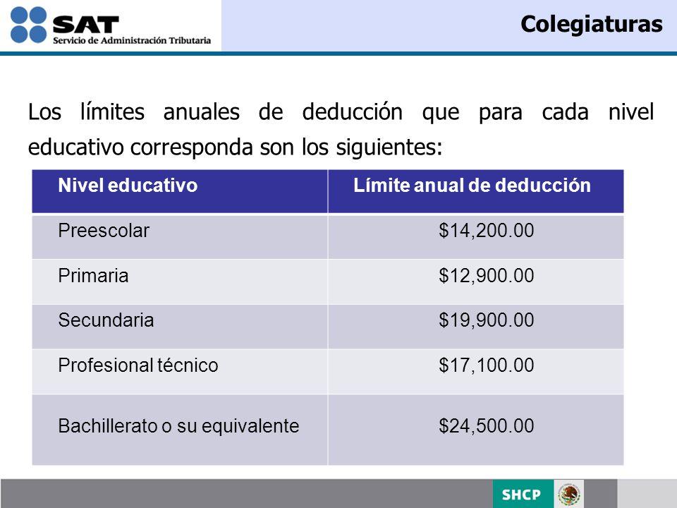 Los límites anuales de deducción que para cada nivel educativo corresponda son los siguientes: Colegiaturas Nivel educativoLímite anual de deducción P