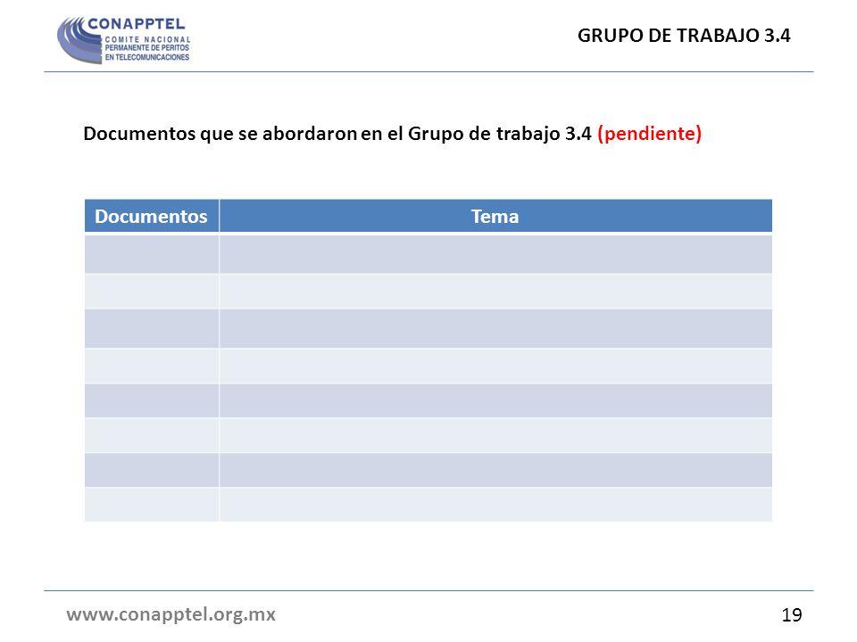 Documentos que se abordaron en el Grupo de trabajo 3.4 (pendiente) GRUPO DE TRABAJO 3.4 www.conapptel.org.mx 19 DocumentosTema