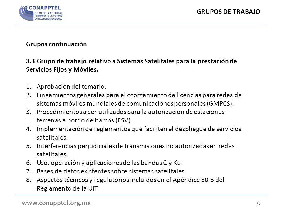 Grupos continuación 3.3 Grupo de trabajo relativo a Sistemas Satelitales para la prestación de Servicios Fijos y Móviles.