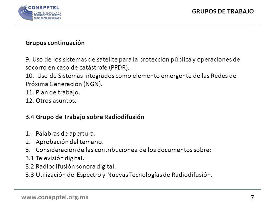 GRUPO DE TRABAJO 3.3 www.conapptel.org.mx 17 DocumentosTema 3000Disposición de frecuencias para los sistemas móviles terrestres en la banda de 3.4 a 3.8 GHz (Argentina).