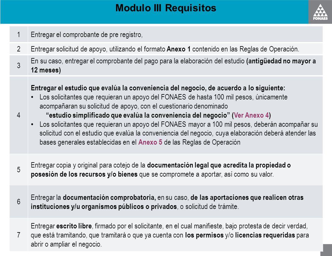 Modulo III Requisitos 1Entregar el comprobante de pre registro, 2 Entregar solicitud de apoyo, utilizando el formato Anexo 1 contenido en las Reglas d