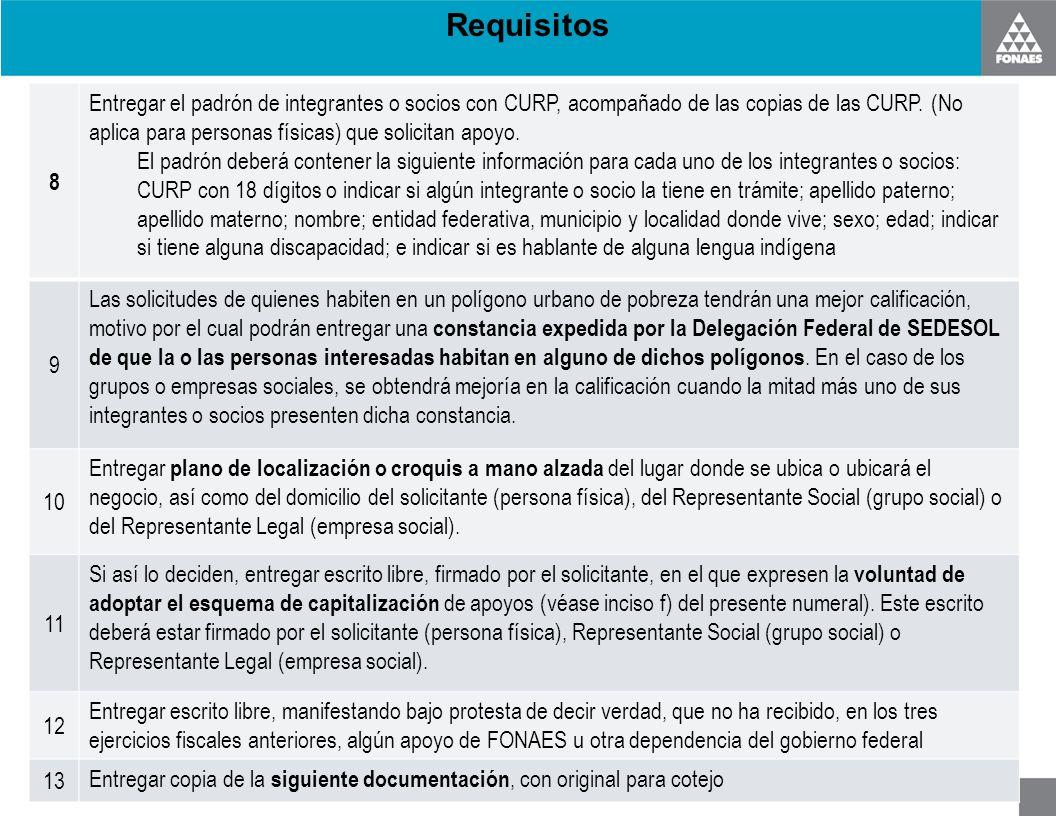 Requisitos 8 Entregar el padrón de integrantes o socios con CURP, acompañado de las copias de las CURP. (No aplica para personas físicas) que solicita