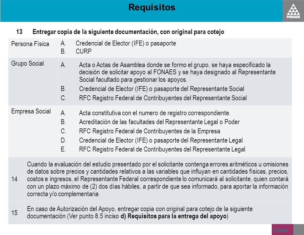 Requisitos 13Entregar copia de la siguiente documentación, con original para cotejo Persona Física A.Credencial de Elector (IFE) o pasaporte B.CURP Gr
