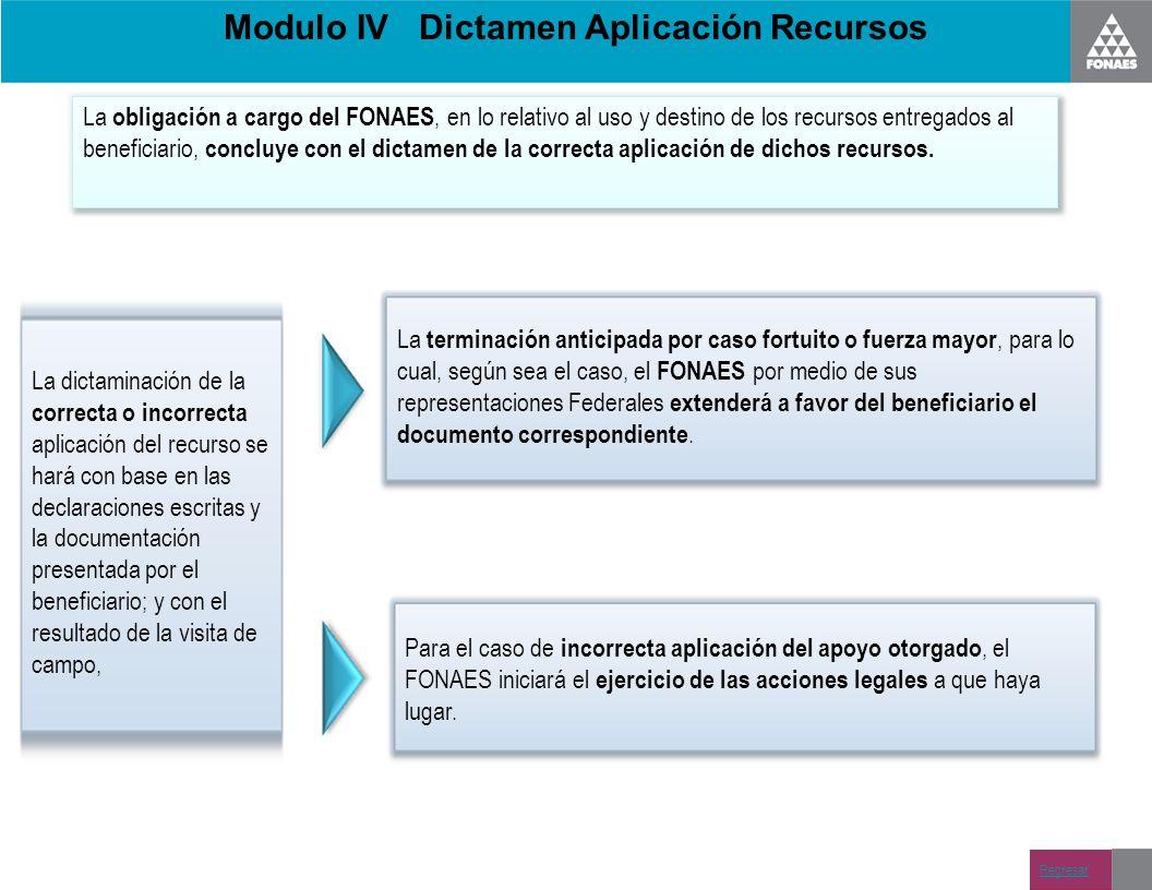 Modulo IV Dictamen Aplicación Recursos La obligación a cargo del FONAES, en lo relativo al uso y destino de los recursos entregados al beneficiario, c