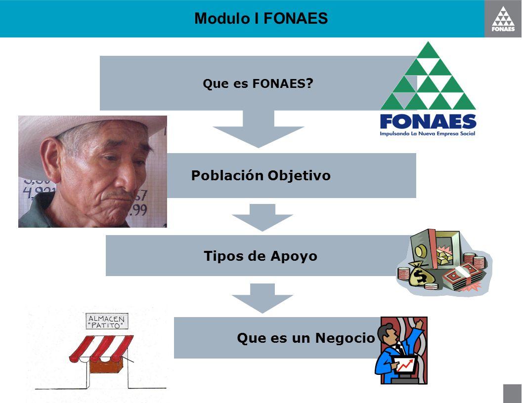 Modulo I FONAES Población Objetivo Tipos de Apoyo Que es FONAES ? Que es un Negocio