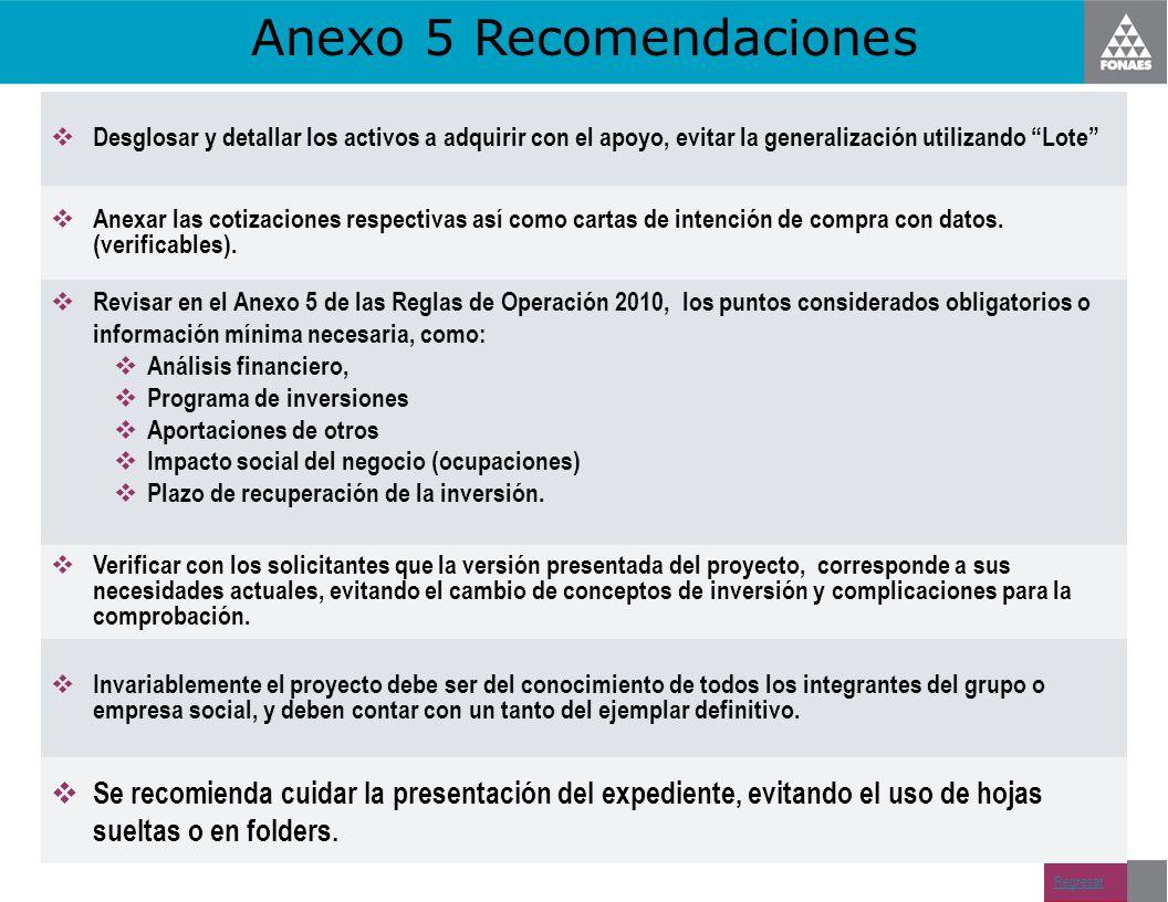 Anexo 5 Recomendaciones Regresar Desglosar y detallar los activos a adquirir con el apoyo, evitar la generalización utilizando Lote Anexar las cotizac