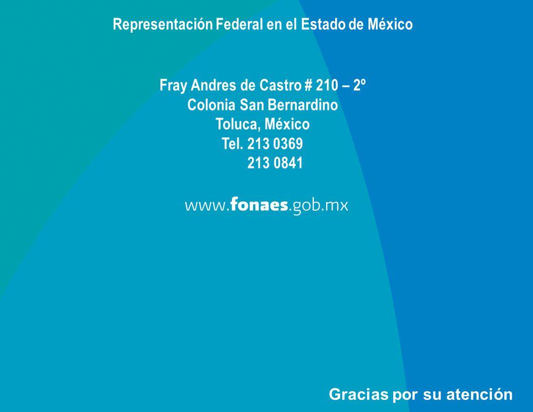 Gracias por su atención Representación Federal en el Estado de México Fray Andres de Castro # 210 – 2º Colonia San Bernardino Toluca, México Tel. 213