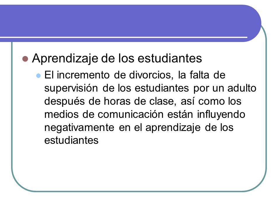 Aprendizaje de los estudiantes El incremento de divorcios, la falta de supervisión de los estudiantes por un adulto después de horas de clase, así como los medios de comunicación están influyendo negativamente en el aprendizaje de los estudiantes