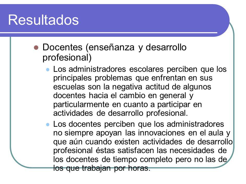 Resultados Docentes (enseñanza y desarrollo profesional) Los administradores escolares perciben que los principales problemas que enfrentan en sus esc
