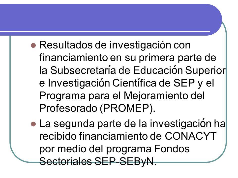 Resultados de investigación con financiamiento en su primera parte de la Subsecretar í a de Educaci ó n Superior e Investigaci ó n Cient í fica de SEP