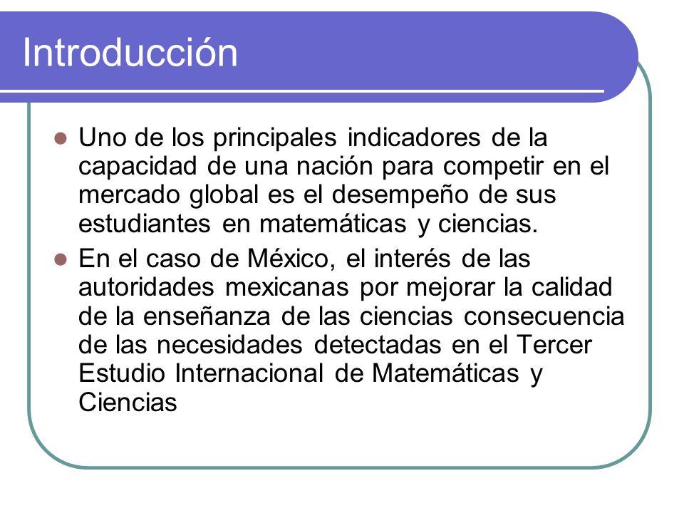 Introducción Uno de los principales indicadores de la capacidad de una nación para competir en el mercado global es el desempeño de sus estudiantes en matemáticas y ciencias.