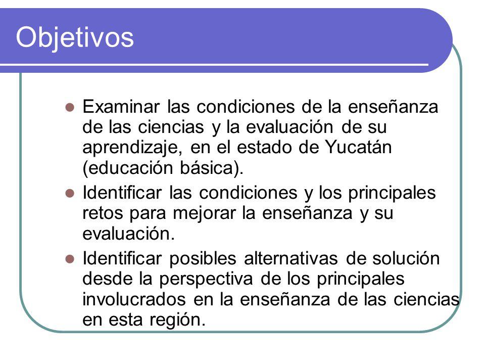 Objetivos Examinar las condiciones de la enseñanza de las ciencias y la evaluación de su aprendizaje, en el estado de Yucatán (educación básica). Iden