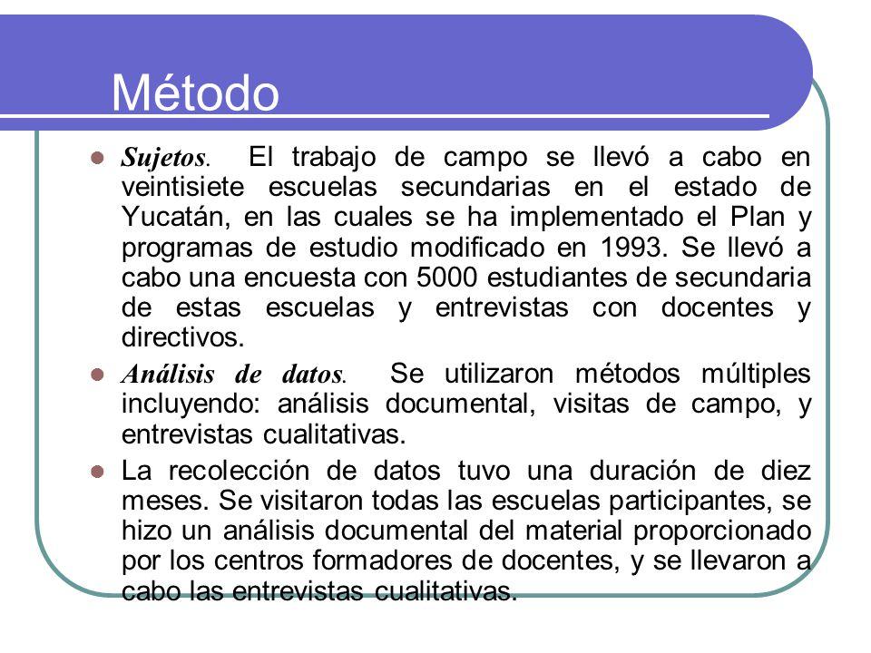 Método Sujetos. El trabajo de campo se llevó a cabo en veintisiete escuelas secundarias en el estado de Yucatán, en las cuales se ha implementado el P