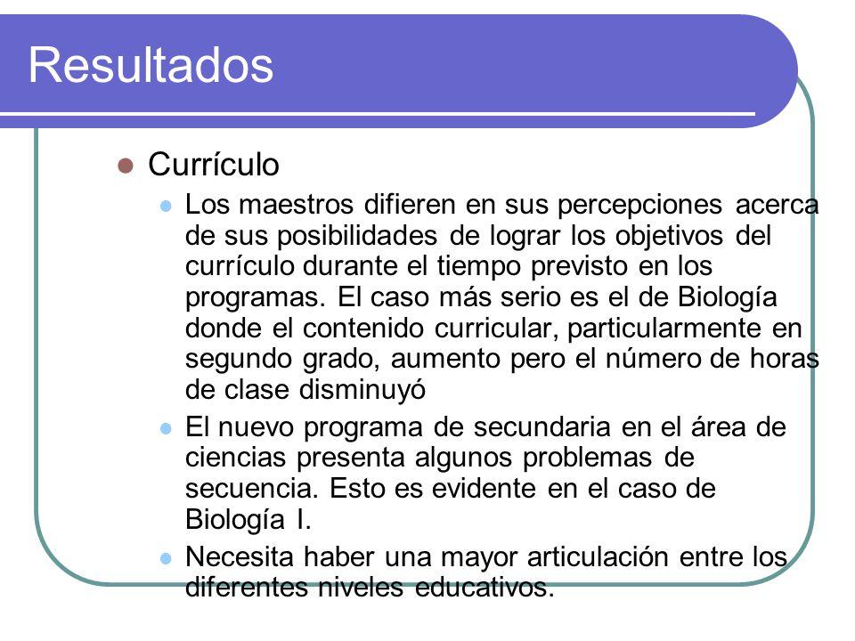Resultados Currículo Los maestros difieren en sus percepciones acerca de sus posibilidades de lograr los objetivos del currículo durante el tiempo previsto en los programas.