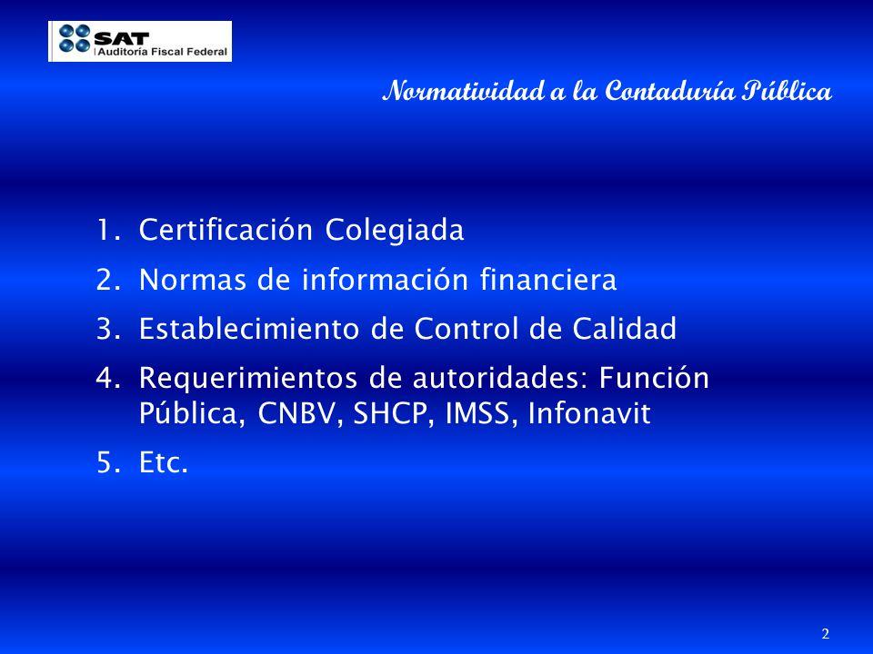Normatividad a la Contaduría Pública 1.Certificación Colegiada 2.Normas de información financiera 3.Establecimiento de Control de Calidad 4.Requerimie