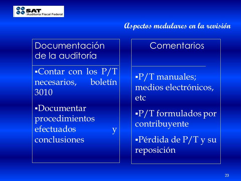 23 Aspectos medulares en la revisión Documentación de la auditoría Contar con los P/T necesarios, boletín 3010 Documentar procedimientos efectuados y