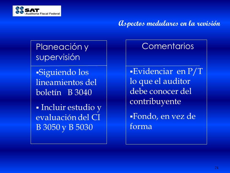24 Planeación y supervisión Siguiendo los lineamientos del boletín B 3040 Incluir estudio y evaluación del CI B 3050 y B 5030 Comentarios Evidenciar e