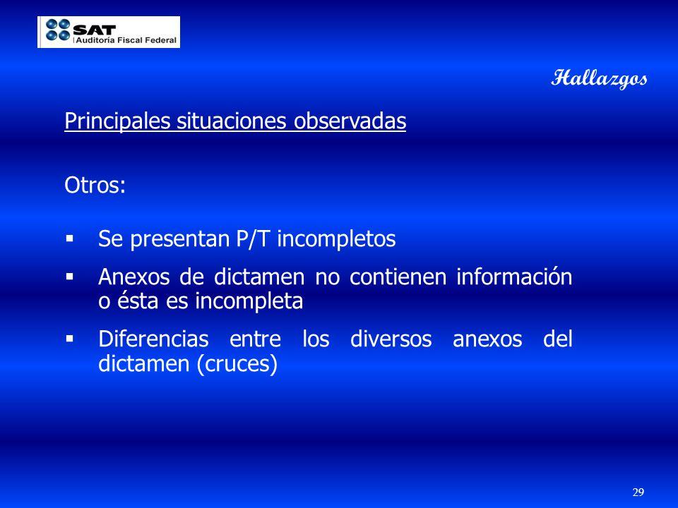29 Principales situaciones observadas Otros: Se presentan P/T incompletos Anexos de dictamen no contienen información o ésta es incompleta Diferencias