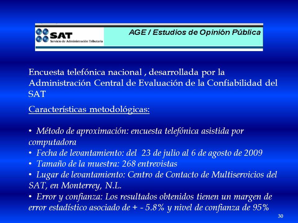 Encuesta telefónica nacional, desarrollada por la Administración Central de Evaluación de la Confiabilidad del SAT Características metodológicas: Méto