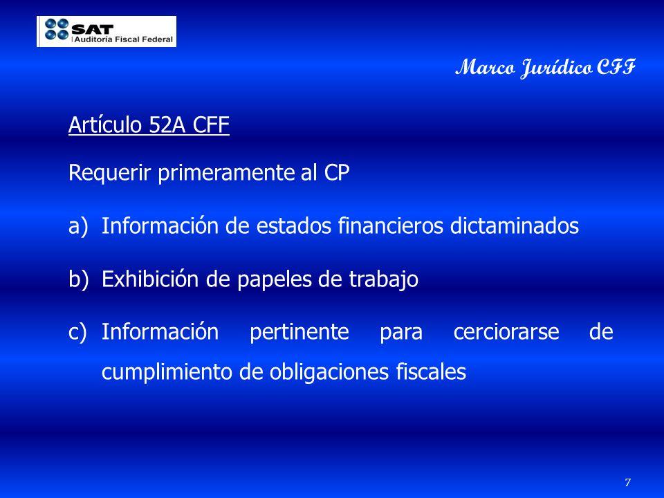Artículo 52A CFF Requerir primeramente al CP a)Información de estados financieros dictaminados b)Exhibición de papeles de trabajo c)Información pertin