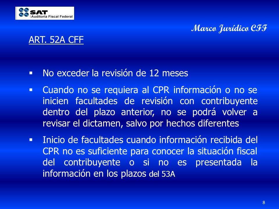 ART. 52A CFF No exceder la revisión de 12 meses Cuando no se requiera al CPR información o no se inicien facultades de revisión con contribuyente dent