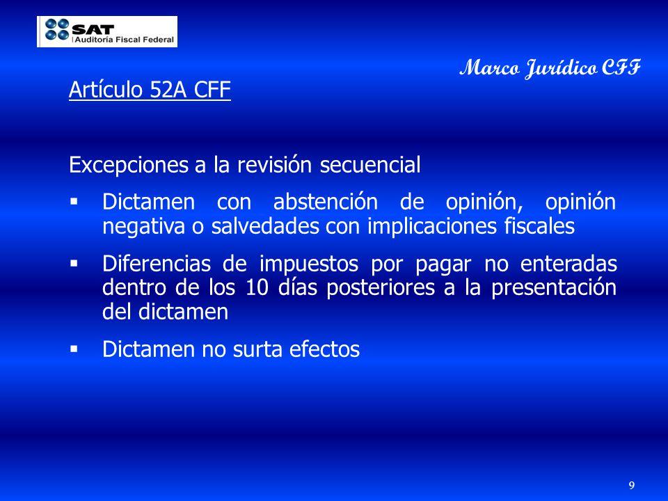 Artículo 52A CFF Excepciones a la revisión secuencial Dictamen con abstención de opinión, opinión negativa o salvedades con implicaciones fiscales Dif