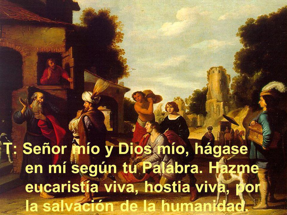 T: Señor mío y Dios mío, hágase en mí según tu Palabra. Hazme eucaristía viva, hostia viva, por la salvación de la humanidad.