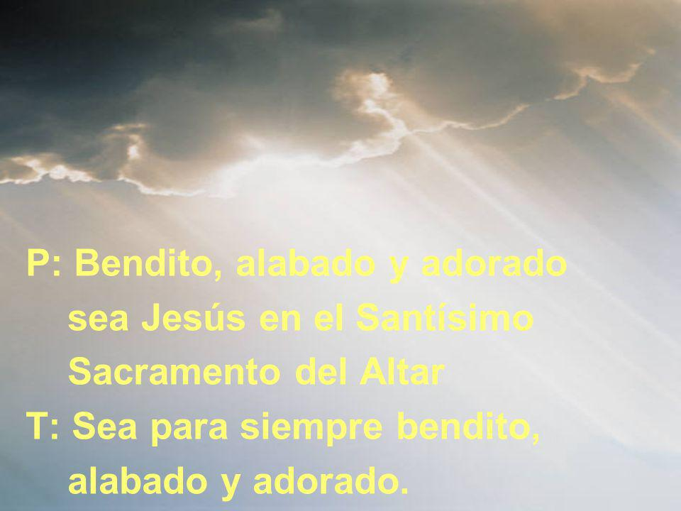 P: Bendito, alabado y adorado sea Jesús en el Santísimo Sacramento del Altar T: Sea para siempre bendito, alabado y adorado.