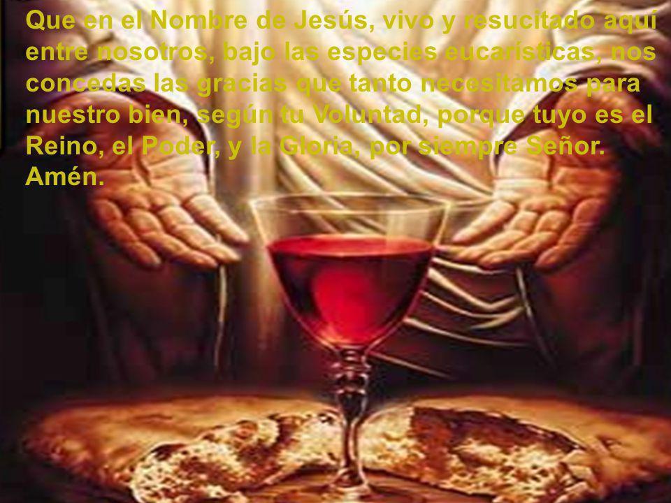 Que en el Nombre de Jesús, vivo y resucitado aquí entre nosotros, bajo las especies eucarísticas, nos concedas las gracias que tanto necesitamos para nuestro bien, según tu Voluntad, porque tuyo es el Reino, el Poder, y la Gloria, por siempre Señor.