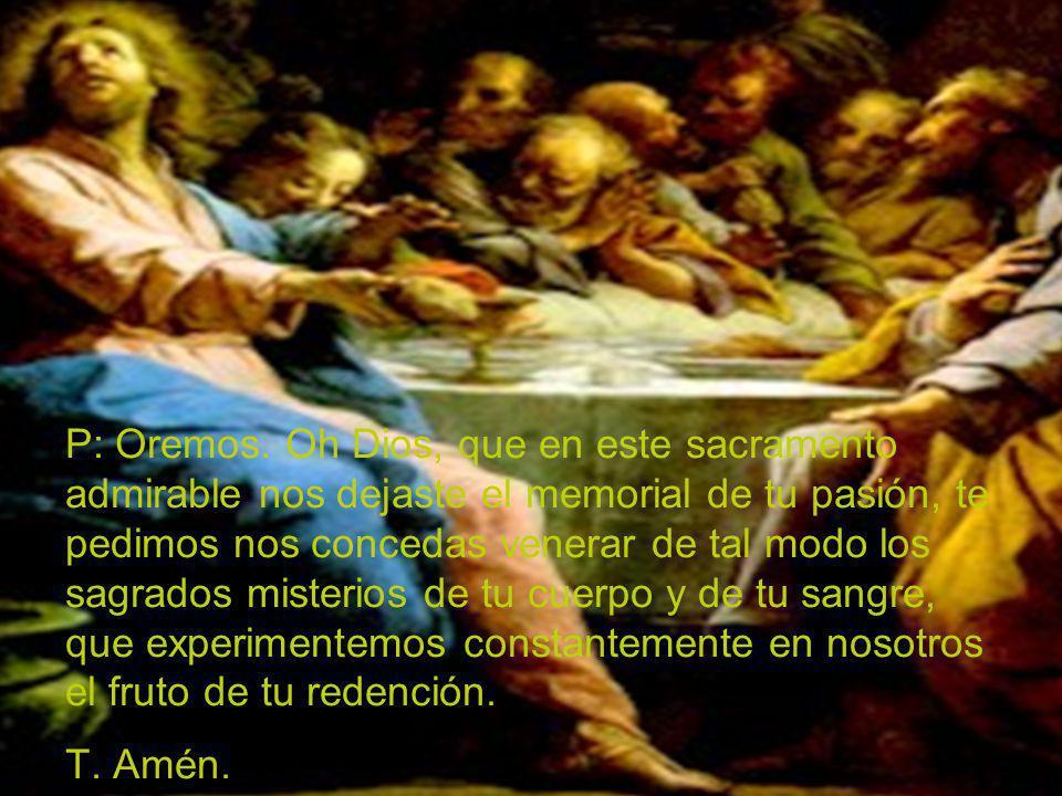 P: Oremos. Oh Dios, que en este sacramento admirable nos dejaste el memorial de tu pasión, te pedimos nos concedas venerar de tal modo los sagrados mi