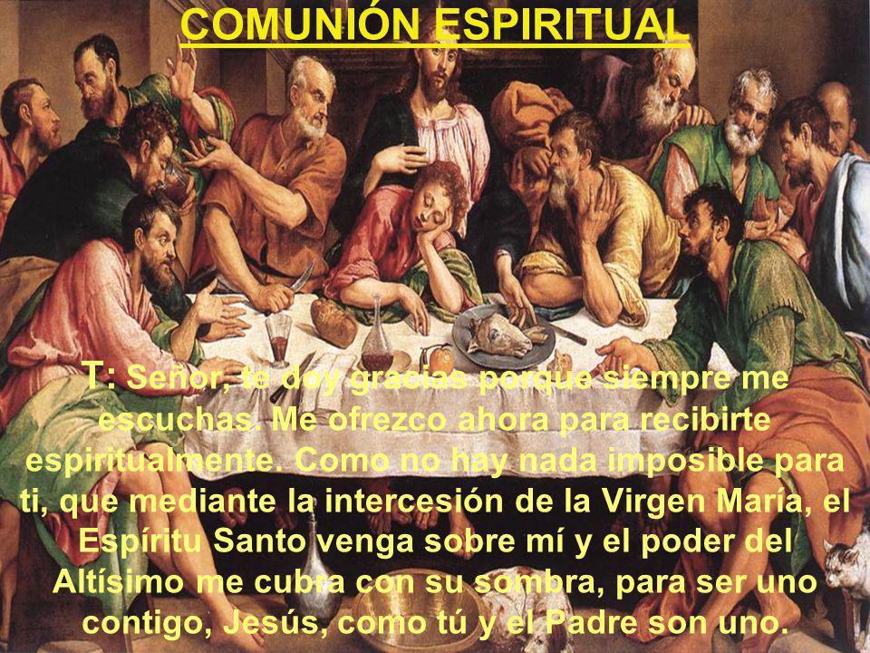 COMUNIÓN ESPIRITUAL T: Señor, te doy gracias porque siempre me escuchas. Me ofrezco ahora para recibirte espiritualmente. Como no hay nada imposible p