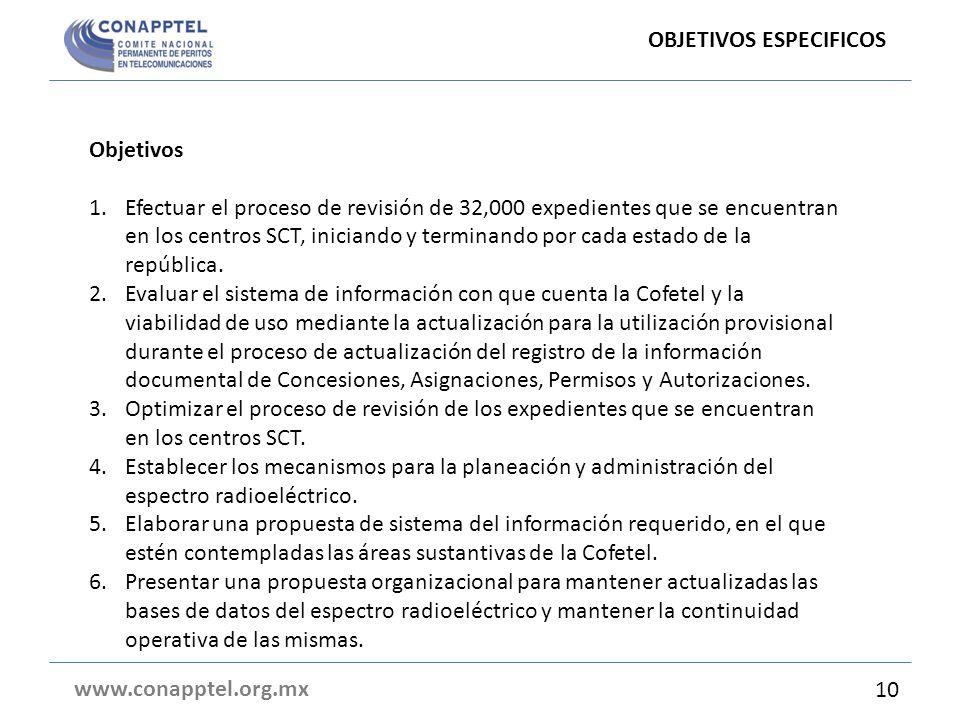 Objetivos 1.Efectuar el proceso de revisión de 32,000 expedientes que se encuentran en los centros SCT, iniciando y terminando por cada estado de la r