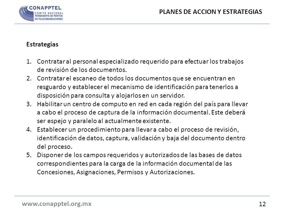 Estrategias 1.Contratar al personal especializado requerido para efectuar los trabajos de revisión de los documentos. 2.Contratar el escaneo de todos