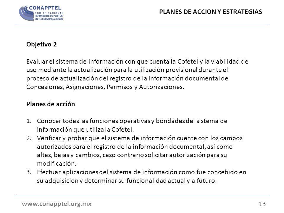 PLANES DE ACCION Y ESTRATEGIAS www.conapptel.org.mx Objetivo 2 Evaluar el sistema de información con que cuenta la Cofetel y la viabilidad de uso medi