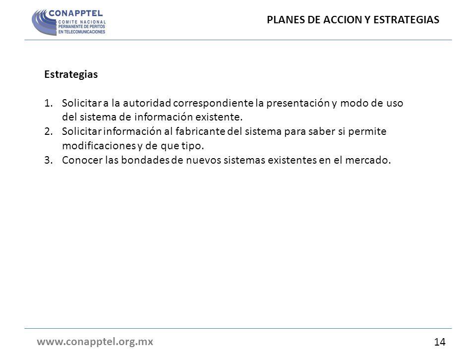 PLANES DE ACCION Y ESTRATEGIAS www.conapptel.org.mx Estrategias 1.Solicitar a la autoridad correspondiente la presentación y modo de uso del sistema de información existente.