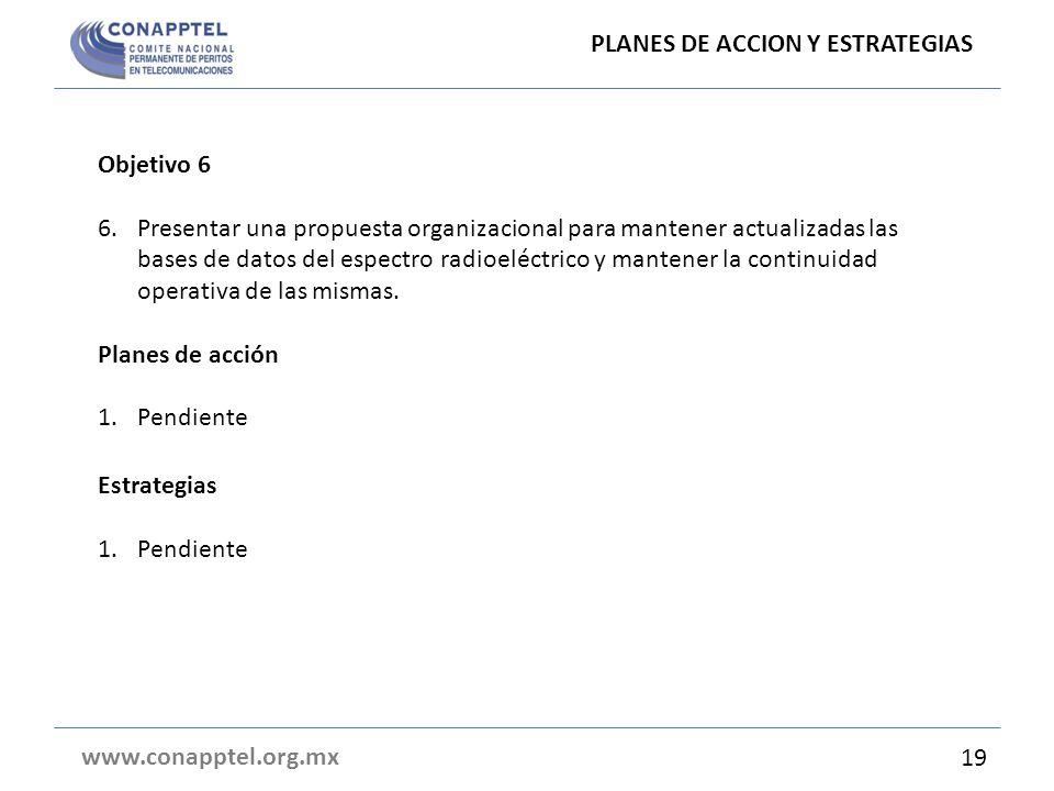 PLANES DE ACCION Y ESTRATEGIAS www.conapptel.org.mx Objetivo 6 6.Presentar una propuesta organizacional para mantener actualizadas las bases de datos del espectro radioeléctrico y mantener la continuidad operativa de las mismas.