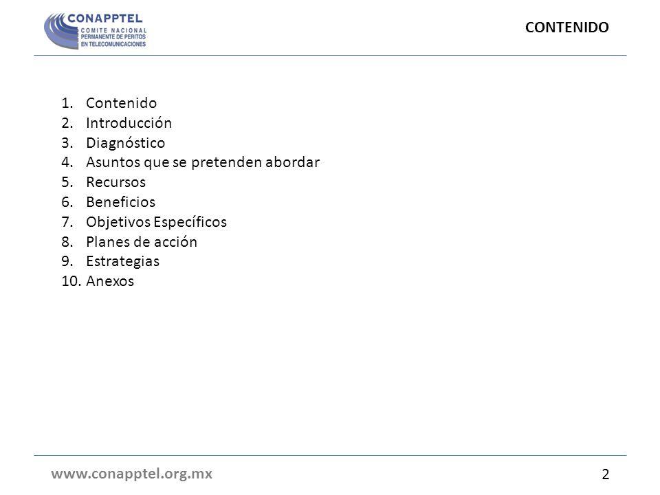 1.Contenido 2.Introducción 3.Diagnóstico 4.Asuntos que se pretenden abordar 5.Recursos 6.Beneficios 7.Objetivos Específicos 8.Planes de acción 9.Estra