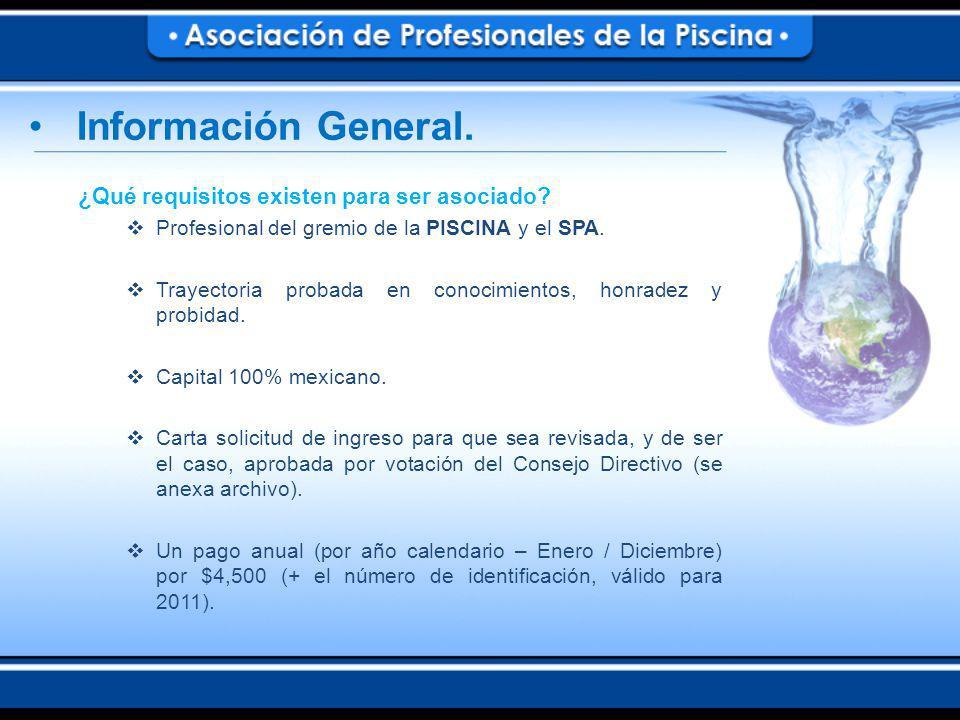 ¿Qué requisitos existen para ser asociado.Profesional del gremio de la PISCINA y el SPA.