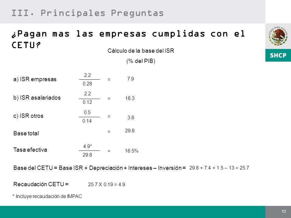 13 a) ISR empresas b) ISR asalariados c) ISR otros Base total Tasa efectiva Base del CETU = Base ISR + Depreciación + Intereses – Inversión = Recaudac