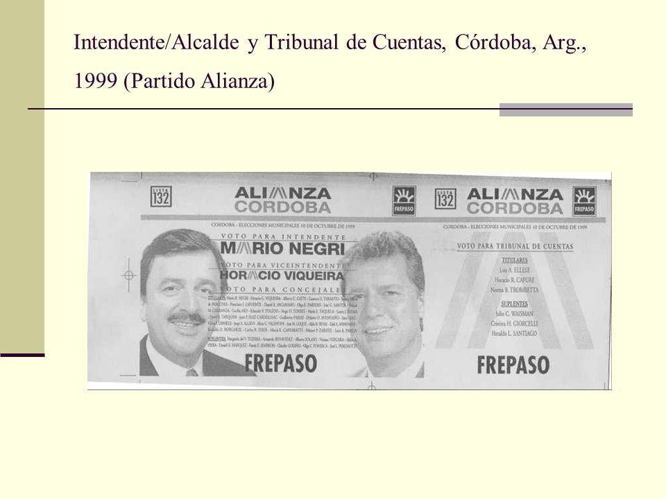 Intendente/Alcalde y Tribunal de Cuentas, Córdoba, Arg., 1999 (Partido Alianza)